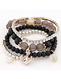 Smart Black Diamond Decorated Multilayer Design Alloy Korean Fashion Bracelet