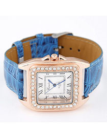 Lovable Blue Diamond Decorated Square Shape Design Alloy Ladies Watches
