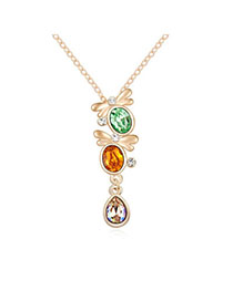 Cargo Olive & Champagne Gold Diamond Decorated Butterfly Shape Design Alloy Crystal Necklaces