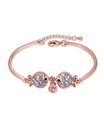 Heather Multicolor & Rose Gold Diamond Decorated Fish Design Alloy Crystal Bracelets