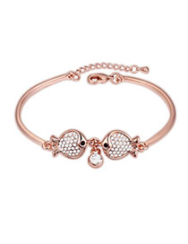 Nameplate White & Rose Gold Diamond Decorated Fish Design Alloy Crystal Bracelets