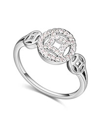 Diaper White Diamond Decorated Hollow Out Design Zircon Crystal Rings