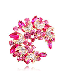 Personal Red Diamond Decorated Meniscus Shape Design Alloy Crystal Brooches