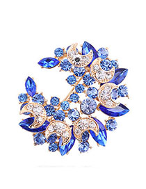Human Blue Diamond Decorated Meniscus Shape Design Alloy Crystal Brooches