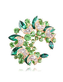 Uniqe Green Diamond Decorated Meniscus Shape Design Alloy Crystal Brooches