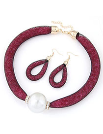 Collar Plum Red Pearl Decorated Simple Design Alloy Jewelry Sets