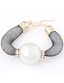 Tungsten White Pearl Decorated Simple Design Alloy Korean Fashion Bracelet