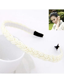 Wrap White Beads Decorated Weave Design Alloy Hair Band Hair Hoop