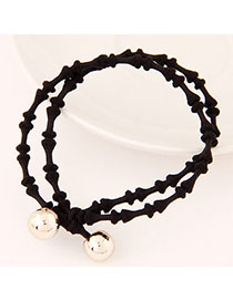 Graduated Black Beads Decorated Double Layer Design Alloy Hair Band Hair Hoop