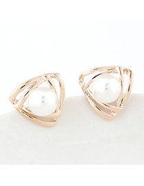 Hurley Gold Color Pearl Decorated Triangle Shape Design Alloy Stud Earrings