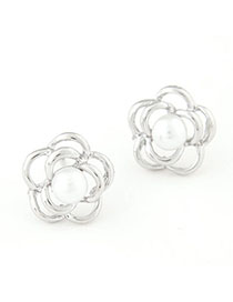 Skate Silver Color Pearl Decorated Rose Shape Design Alloy Stud Earrings
