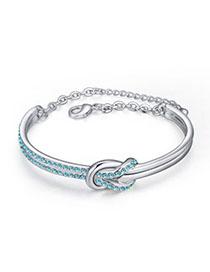 Pretty Navy Blue Diamond Decorated Simple Design Alloy Crystal Bracelets