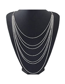 Diy Silver Color Multilayer Simple Design Alloy Chains