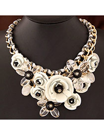 Discount White Gemstone Decorated Flower Design