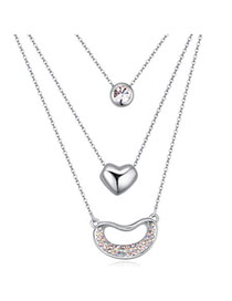 Embossed Silver Color Diamond Decorated Multilayer Design Alloy Crystal Necklaces
