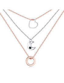 Modern Rose Gold Star Shape Decorated Simple Design Cuprum Crystal Necklaces