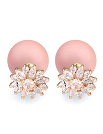 Handcrafte Pink Diamond Decorated Flower Design Zircon Crystal Earrings
