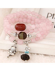Tungsten Pink Beads Decorated Cat Shape Multilayer Design Alloy Fashion Bracelets