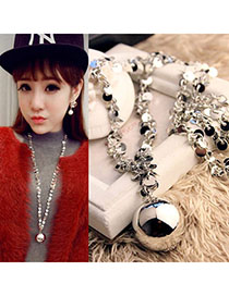 Lovely Silver Color Metal Ball Shape Decorated Simple Design Alloy Fashion Necklaces