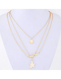 Tall Gold Color Star Pendant Decorated Multilayer Design