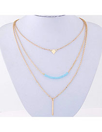 Promise Gold Color Triangle Shape Decorated Multilayer Design