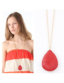 Venetian Watermelon Red Waterdrop Shape Pendant Decorated Simple Design Alloy Chains