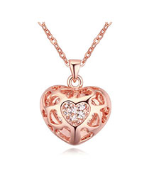 Bulk Rose Gold Diamond Decorated Heart Shape Pendant Design Alloy Crystal Necklaces