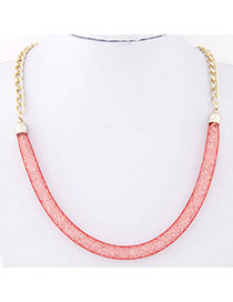 Stretch Red Chain Shape Decorated Simple Design Alloy Korean Necklaces