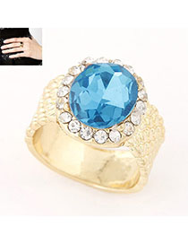 Faddish Blue Diamond Decorated Simple Design Alloy Korean Rings