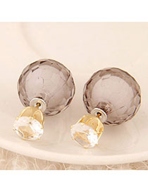 Political Gray Conady Color Diamond Decorated Round Shape Design Alloy Stud Earrings