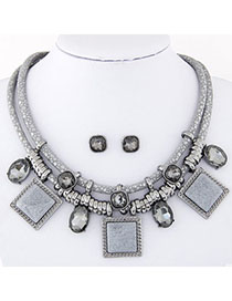 Fashion Silver Color Pure Color Decorated Jewelry Set (3 Pcs )
