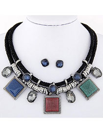 fashion Multicolor Gemstone Decorated Square Shape Design Alloy Jewelry Sets
