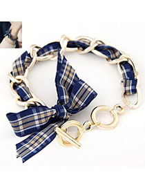 gentlewomanly Blue Bowknot Shape Decorated Simple Design