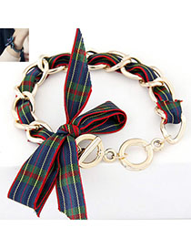 gentlewomanly Red Bowknot Shape Decorated Simple Design Alloy Korean Fashion Bracelet