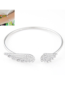 Korean Silver Color Diamond Decorated Wings Shape Design Alloy Fashion Bangles