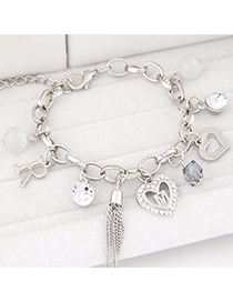 Korean Silver Color Diamond Decorated Heart Shape Design Alloy Korean Fashion Bracelet