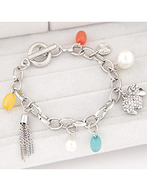 cute Silver Color Diamond Decorated Sheep Shape Design Alloy Korean Fashion Bracelet