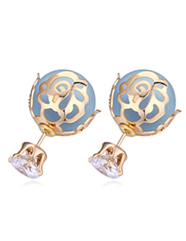 Korean Champagne Gold & Blue Round Shape Decorated Hollow Design Zircon Crystal Necklaces