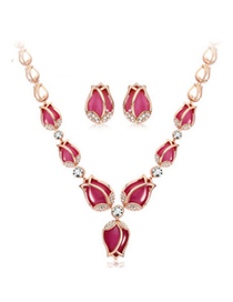 Boutique Plum Red Diamond Decorated Flower Design Alloy Jewelry Sets