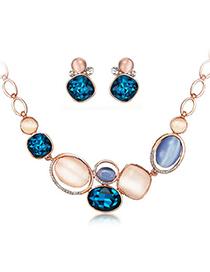 Brilliant Navy Blue Diamond Decorated Oval Shape Design Alloy Jewelry Sets