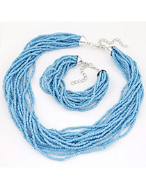 bohemia Blue Beads Decorated Multilayer Design Alloy Jewelry Sets