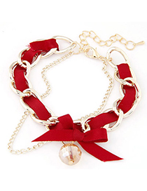 sweet Red Diamond Decorated Weave Design Alloy Korean Fashion Bracelet