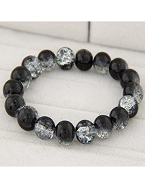 Crystal Black Beads Decorated Simple Design Glass Korean Fashion Bracelet