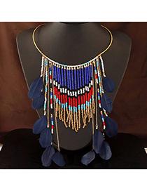 Bohemia Dark Blue Beads Decorated Tassel Design Alloy Fashion Necklaces