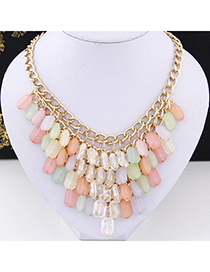 brightly colored Multicolor Beads Decorated Tassel Design Alloy Bib Necklaces