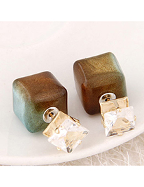 Occident Brown Diamond Decorated Square Shape Design Alloy Stud Earrings