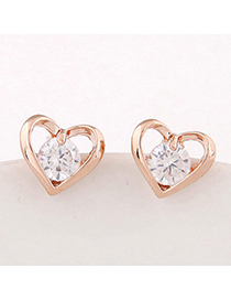 Sweet Gold Color Diamond Decorated Heart Shape Design Alloy Stud Earrings