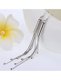 Glamour Silver Color Cylinder Shape Decorated Tassle Design Cuprum Fashion Earrings