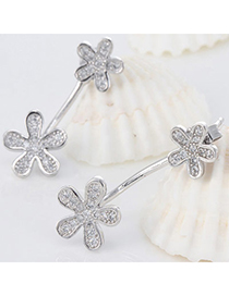 Upscale Silver Color Diamond Decorated Flower Design Cuprum Fashion Earrings