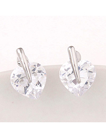 Fresh Silver Color Diamond Decorated Heart Shape Design Alloy Stud Earrings